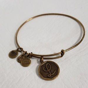 Alex and Ani gold metal initial L bracelet